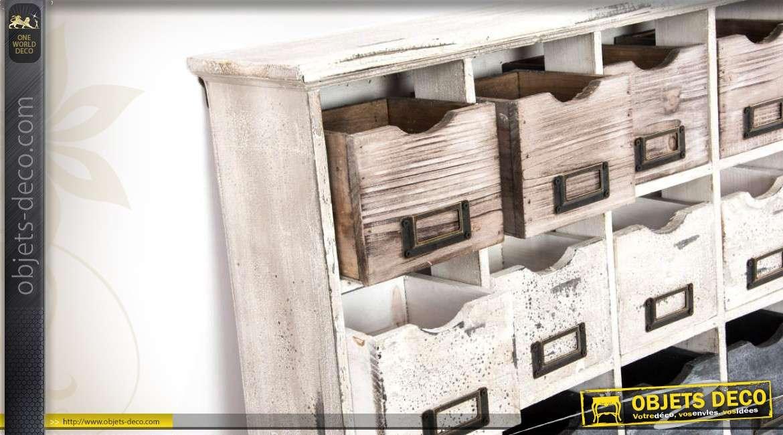 Etag re murale indus et r tro 12 tiroirs avec 4 crochets - Etagere d appoint cuisine ...