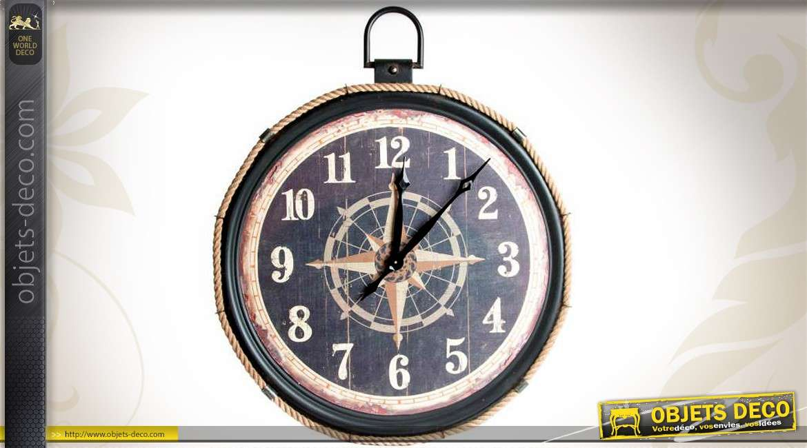 horloge murale m tal et cordage style bord de mer 81 cm. Black Bedroom Furniture Sets. Home Design Ideas