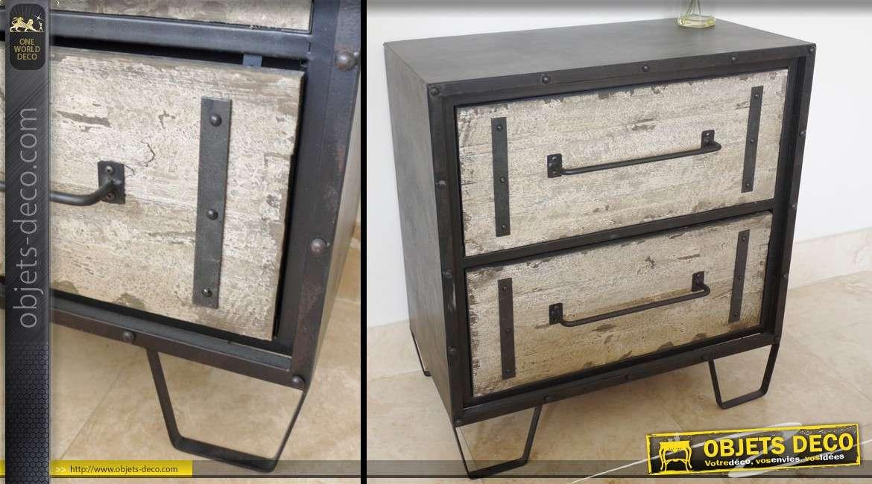 Commode en bois et métal à deux tiroirs de style industriel