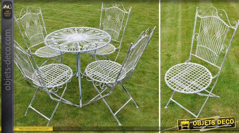 Salon de jardin 4 places en fer forg et m tal gris antique for Objet deco jardin metal