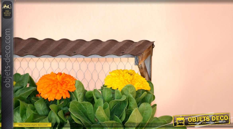 Jardinière murale en bois et métal avec 3 pots