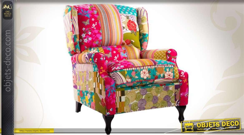 Fauteuil De Style Rétro Avec Habillage Patchwork Multicolore - Fauteuil multicolore design
