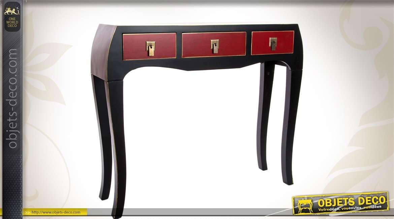 Console de style japonais coloris noir et bordeaux 3 tiroirs for Console style japonais