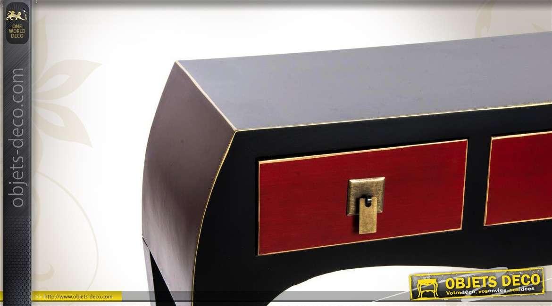 Console de style japonais coloris noir et bordeaux 3 tiroirs for Meuble console japonais
