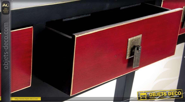 Console de style japonais coloris noir et bordeaux 3 tiroirs - Meubles asiatiques bordeaux ...