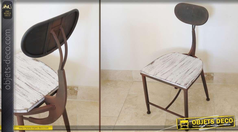 Chaise de style industriel bois et m tal coloris blanc et for Chaise de style
