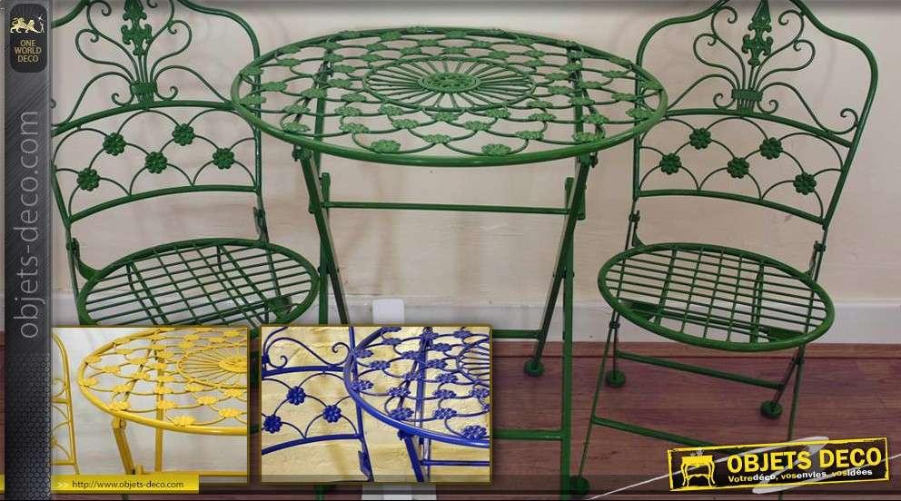 Salon de jardin en fer forg 3 pi ces plusieurs coloris - Salon de jardin en fer ...