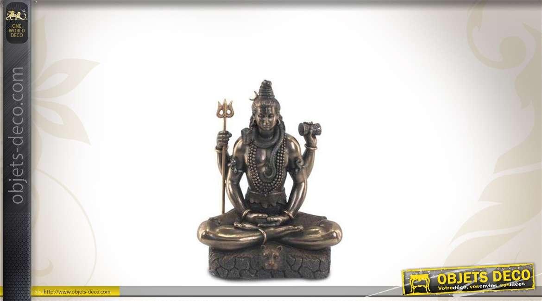 Statuette de Shiva avec ses attributs, finition bronze