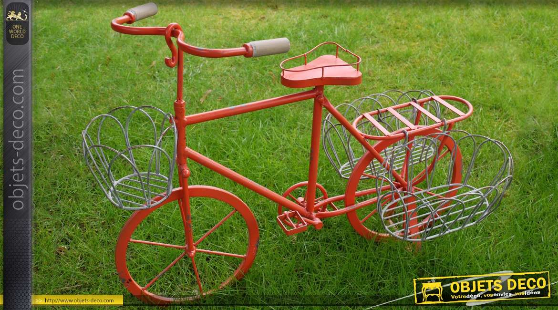 Vélo porte-plantes façon bicyclette rouge pour enfant 59 cm