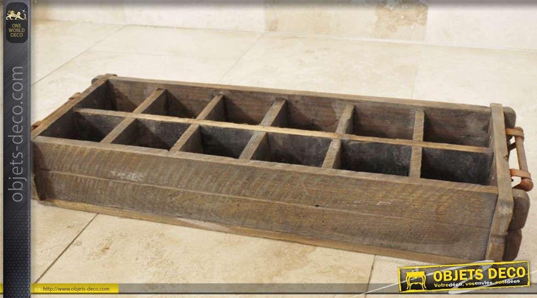 Caisse en bois à bouteilles de style rétro à 12 compartiments