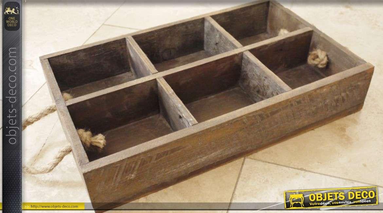caisse en bois double 12 compartiments style r tro et vintage. Black Bedroom Furniture Sets. Home Design Ideas