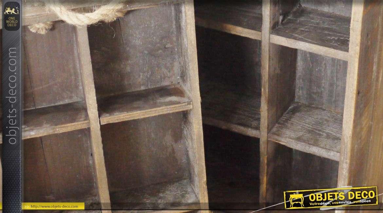 Caisse en bois double à 12 compartiments style rétro et vintage