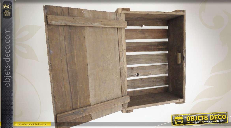 Caisse en bois murale avec porte illustrée style rétro