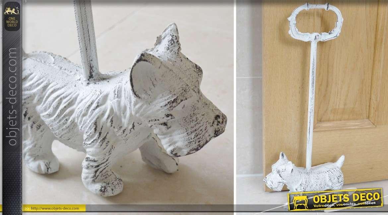 Bloque-porte à poignée en fonte motif petit chien blanc antique