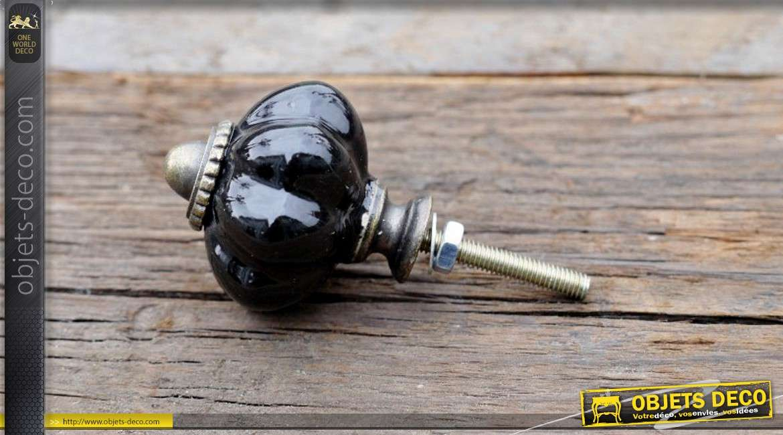Bouton de tiroir ou de porte en métal et porcelaine coloris noir