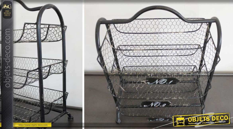 petite tag re en m tal et fer forg trois paniers noir antique. Black Bedroom Furniture Sets. Home Design Ideas