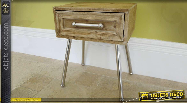 console de style industriel en bois massif et m tal argent. Black Bedroom Furniture Sets. Home Design Ideas