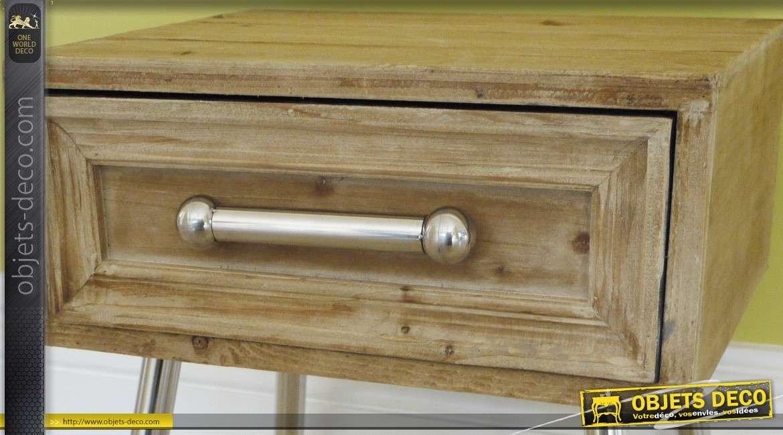 Console de style industriel en bois massif et m tal argent - Console bois metal industriel ...