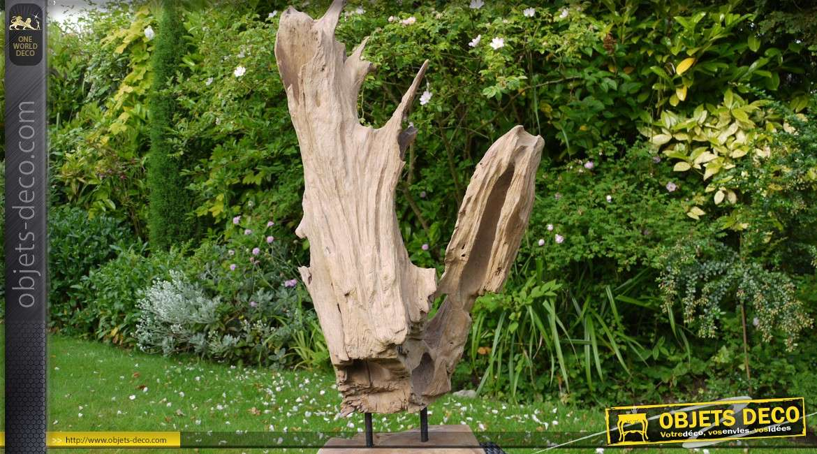 sculpture sur socle en bois massif et naturel 50 cm. Black Bedroom Furniture Sets. Home Design Ideas