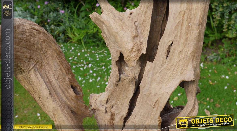 sculpture sur socle en bois massif et naturel 50 cm. Black Bedroom Furniture Sets. Home Design Ideas