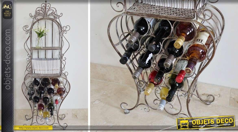 meuble cave vin avec tag re en fer forg gris antique. Black Bedroom Furniture Sets. Home Design Ideas