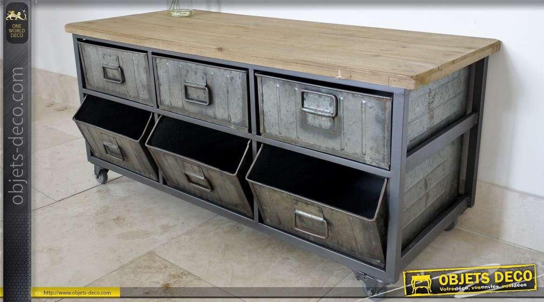 console de style indus en bois et m tal avec 3 bacs et 3 tiroirs. Black Bedroom Furniture Sets. Home Design Ideas
