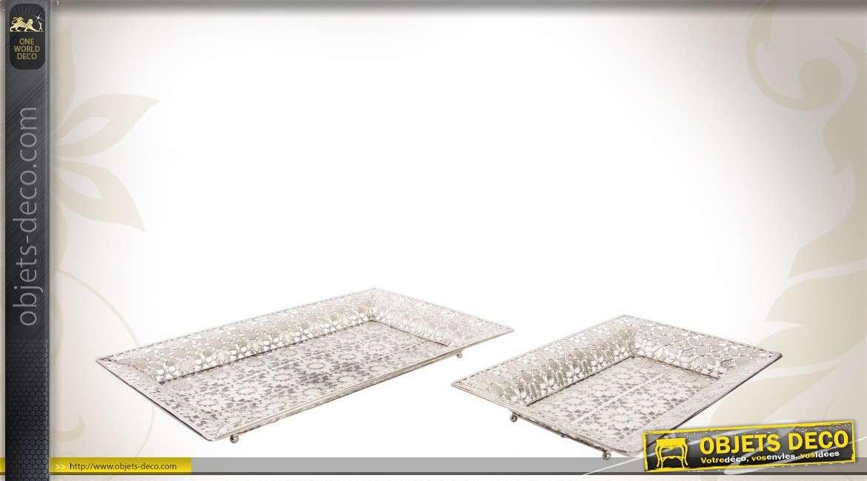 2 plateaux d coratifs en m tal argent finition moucharabieh. Black Bedroom Furniture Sets. Home Design Ideas