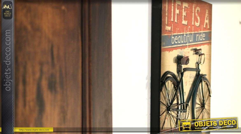 D co murale en m tal tableau avec bicyclette vintage bleue - Tableau deco en metal ...