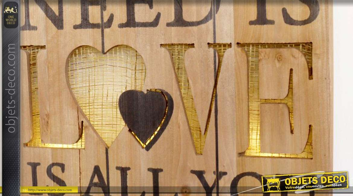 tableau en bois avec clairage led all you need is love 55 cm. Black Bedroom Furniture Sets. Home Design Ideas