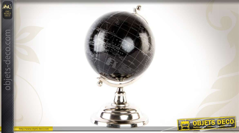 Globe en métal coloris chrome et noir