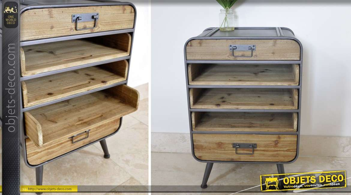 chiffonnier de style r tro et industriel en bois et m tal. Black Bedroom Furniture Sets. Home Design Ideas
