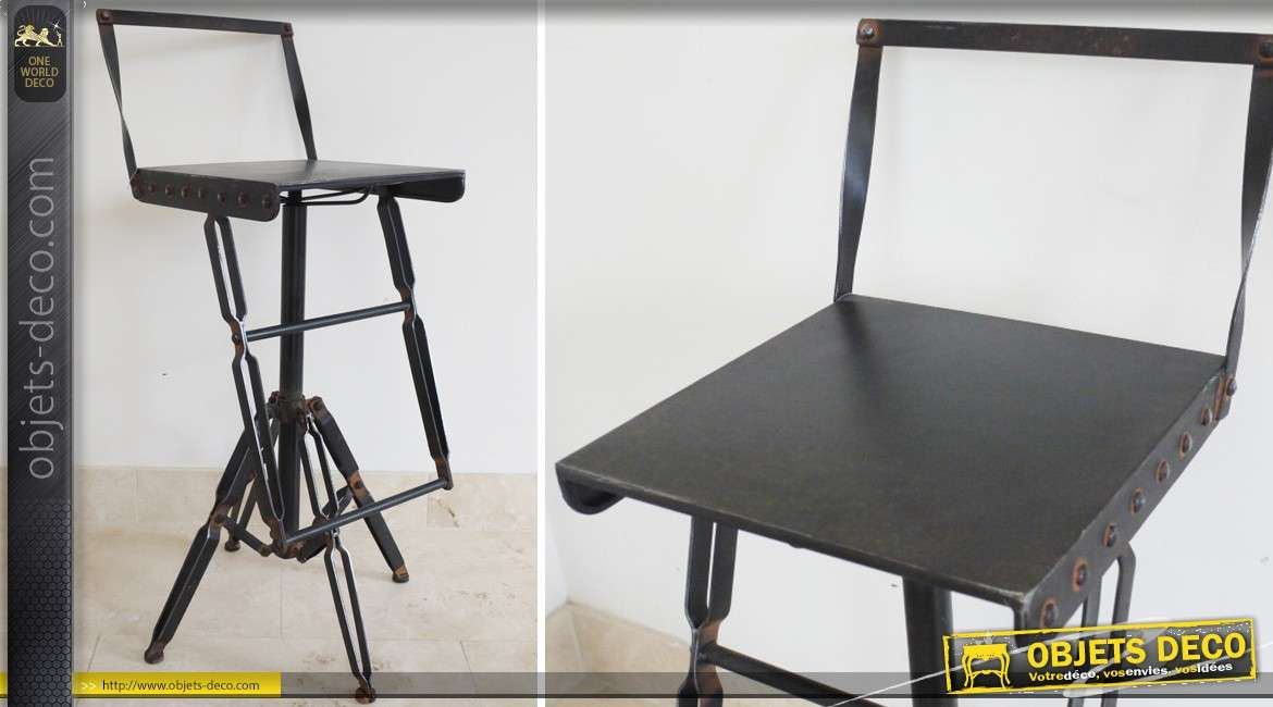 tabouret chaise de bar en m tal de style industriel et vintage. Black Bedroom Furniture Sets. Home Design Ideas