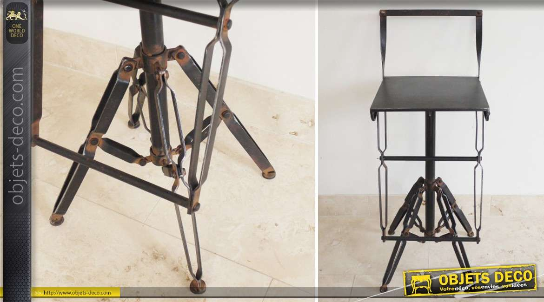 Tabouret Chaise De Bar En Metal Style Industriel Et Vintage