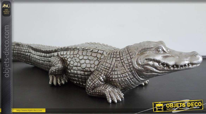 Statuette argentée en forme de grand crocodile 62 cm
