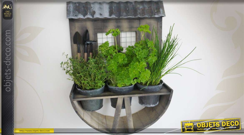 jardini re murale en bois et m tal style rustique et r tro. Black Bedroom Furniture Sets. Home Design Ideas