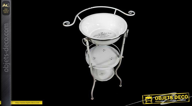 Serviteur De Toilette De Style Ancien En Métal Blanc