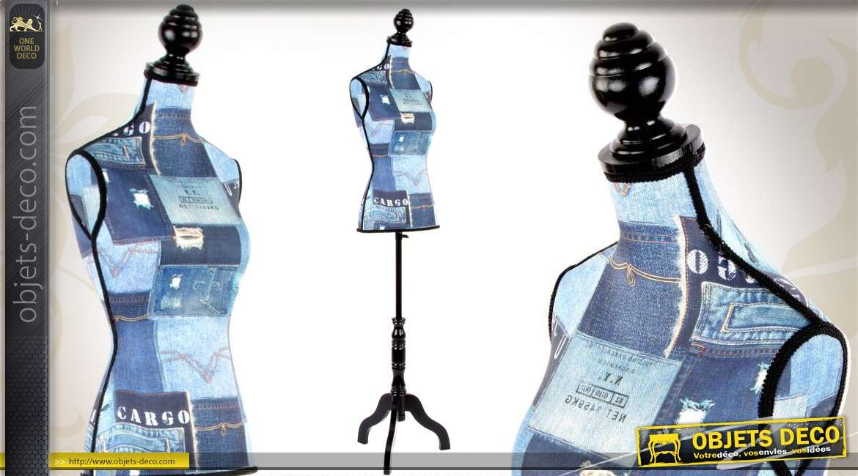 mannequin de couture en bois et tissu effet patchwork denim. Black Bedroom Furniture Sets. Home Design Ideas