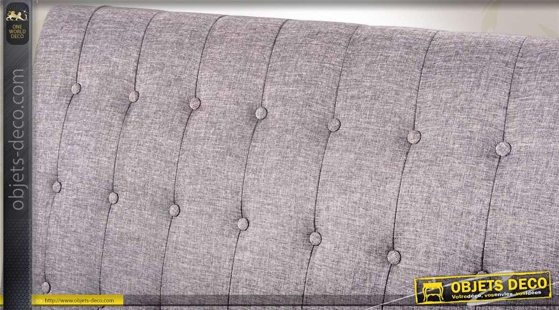 t te de lit en 150 habillage tissu gris capitonn. Black Bedroom Furniture Sets. Home Design Ideas