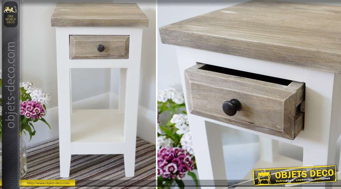 sellette en bois massif de style campagne patine bicolore 60 cm. Black Bedroom Furniture Sets. Home Design Ideas