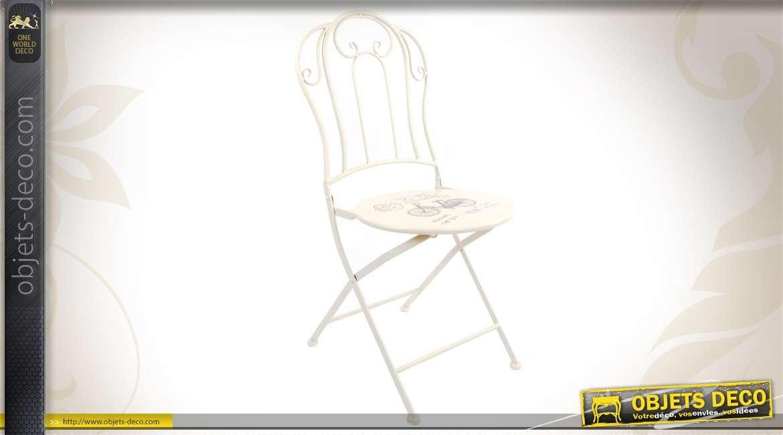 Chaise de jardin vintage en m tal coloris blanc - Chaise salon de jardin vintage ...