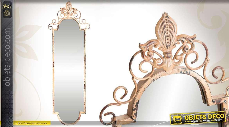 Miroir vertical brocante fer forg beige vieilli et oxyd for Miroir vertical