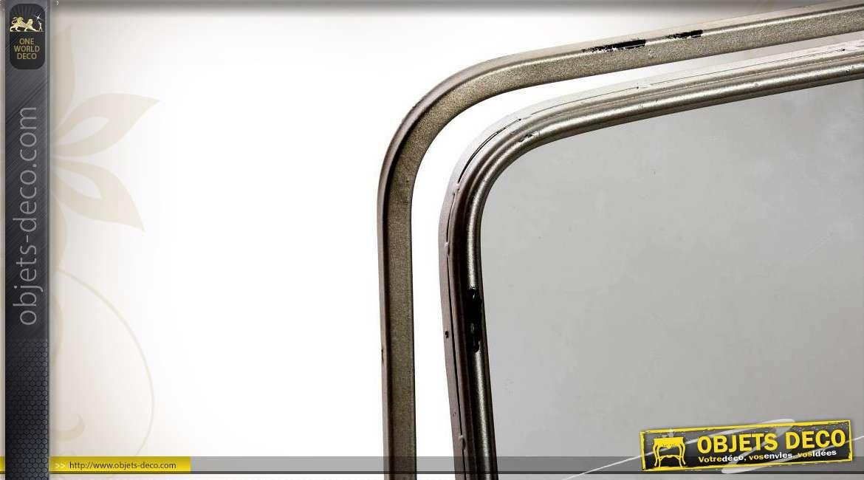 miroir de vestiaire r tro indus patine gris argent vieillie. Black Bedroom Furniture Sets. Home Design Ideas