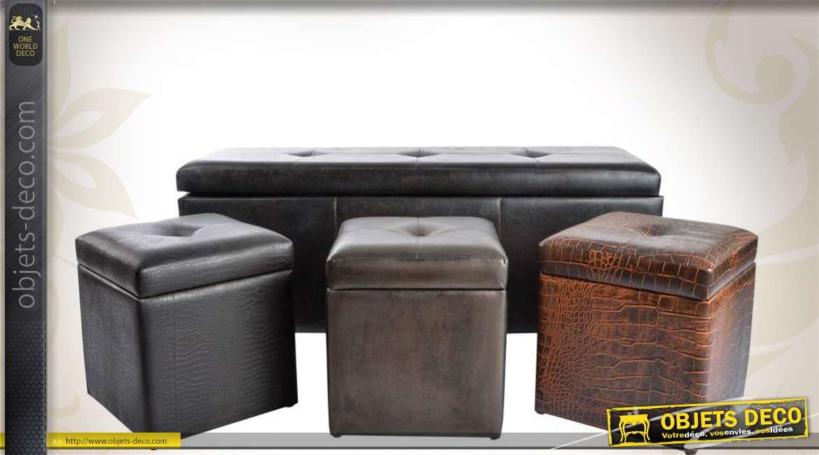 banc coffre avec 3 poufs finitions similicuir. Black Bedroom Furniture Sets. Home Design Ideas