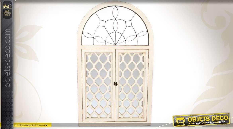 Miroir en bois de style ancien fen tre carreaux en arcade for Miroir en forme de fenetre