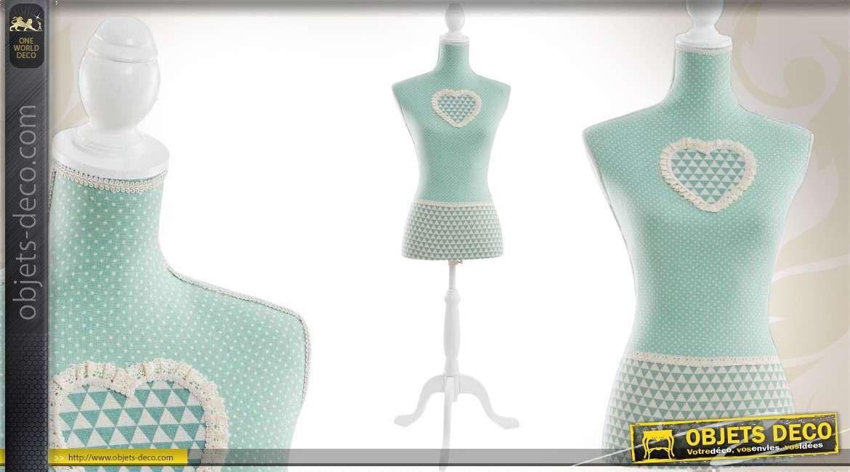 mannequin buste bois et tissu coloris vert clair de style r tro. Black Bedroom Furniture Sets. Home Design Ideas