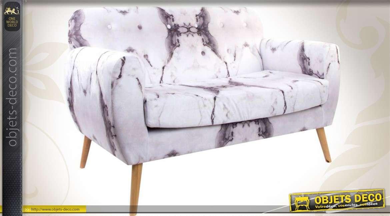 canap de style vintage habillage velours motifs marbr s. Black Bedroom Furniture Sets. Home Design Ideas