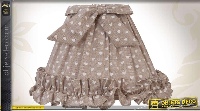 abat jour d co en tissu marron clair motifs coeurs. Black Bedroom Furniture Sets. Home Design Ideas