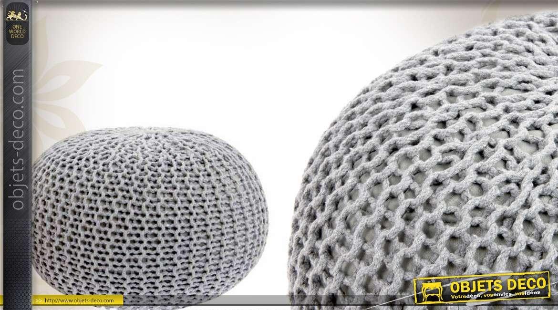pouf en laine grosses mailles coloris gris 40 cm. Black Bedroom Furniture Sets. Home Design Ideas