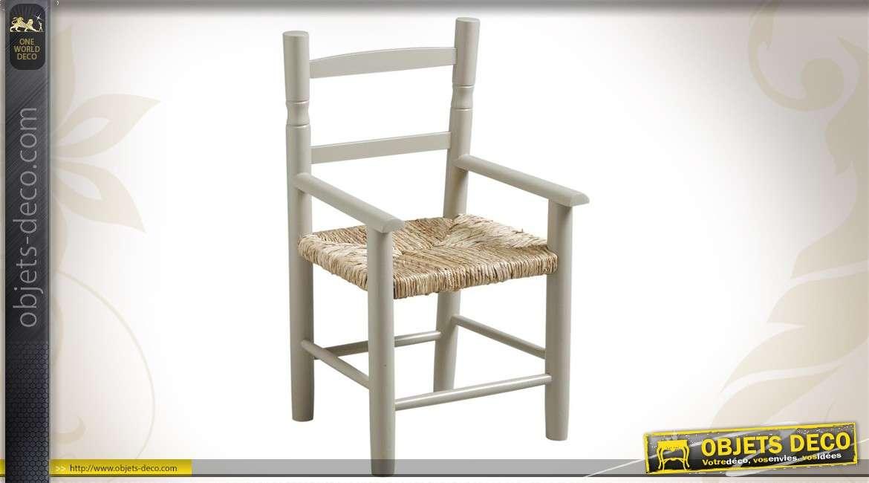 Chaise enfant en hêtre laqué gris clair, siège roseau