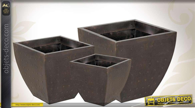 Série de 3 cache-pots déco en zinc cuivré